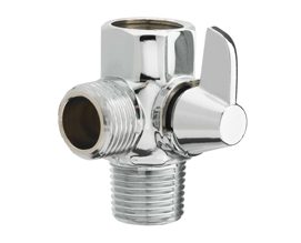 Solid Brass, Chrome Plated, High-Pressure Shower Hose Adapter With Ball Valve